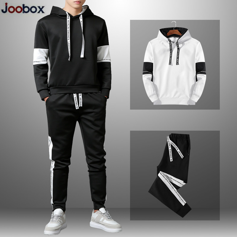 Patchwork Men's Sportswear Sets 2019 Autumn Winter Hooded Casual Tracksuit Men 2 Piece Hoody Sweatshirt + Sweatpants Set New