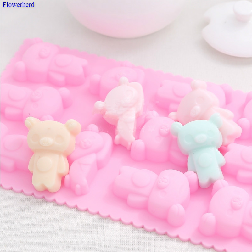 Food Grade DIY Silicone Baking Mold 11 Cavities Teddy Bear Cartoon Chocolate Silicone Mould Baby Soap Making Supplies Cake Mold