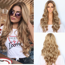 Lvcheryl Synthetic Lace Front Wigs for Women Natural Wave Ombre Blonde Brown Hair Roots Wedding Hair Wigs Hand Tied Hair Wigs
