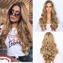Pelucas frontales de encaje sintético para mujer, cabello Natural ondulado Rubio degradado, pelo marrón, raíces, pelo de boda, pelucas de cabello atado a mano
