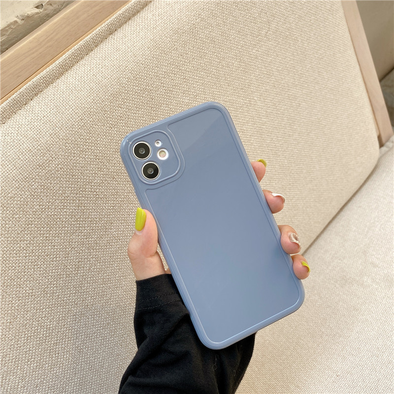 Candy Colors Phone Case For iPhone 12 11 Pro Max 7 8 Plus X XR XS Max Three-dimensional Square Frame Shockproof Back Cover Coque