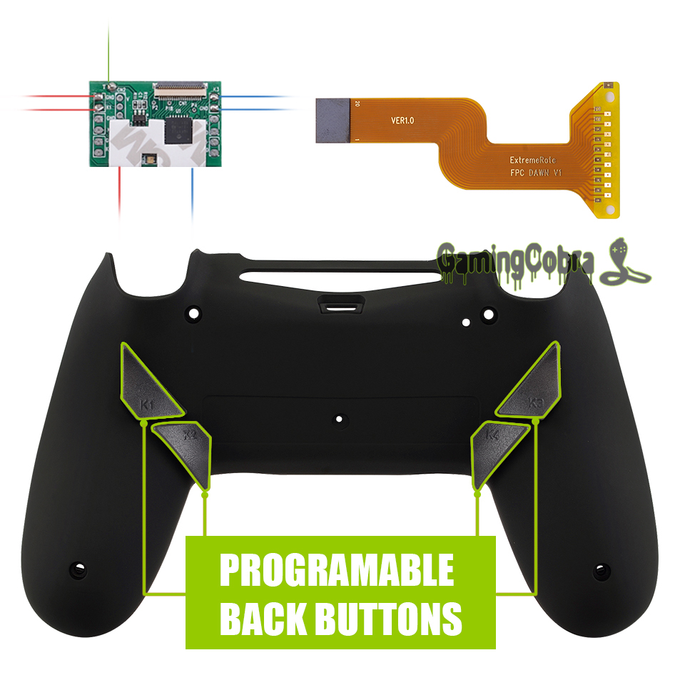 Soft Touch Black Dawn Programable Remap Kit for PS4 Slim Pro Controller <font><b>JDM</b></font> 040/050/<font><b>055</b></font> w/ Custom Back <font><b>Shell</b></font> & 4 Back Buttons image