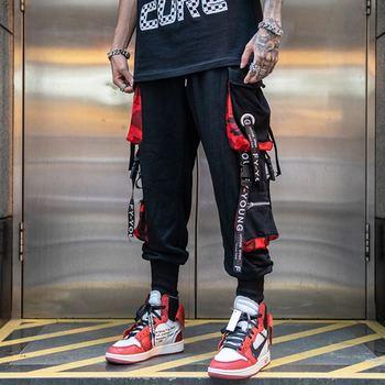 Men Hip Hop Black Cargo Pants joggers Sweatpants Overalls Men Ribbons Streetwear Harem Pants Women Fashions Trousers men hip hop joggers cargo pants black pocket patchwork ribbons men jogger harem pants fashions trousers hip hop streetwear