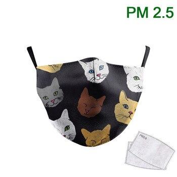 Fashion Children Face Masks Cute Cat Print Masks Reusable PM 2.5 Protective Dust Washable Children Fabric Masks Adjustable
