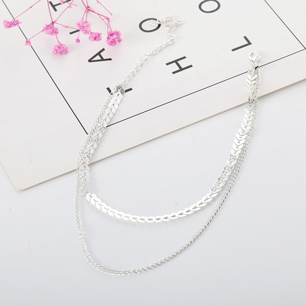 2019 New Chain Choker Two Layers Necklaces Fishbone Airplane Shape Gold Color Necklace Flat Chain jewelry