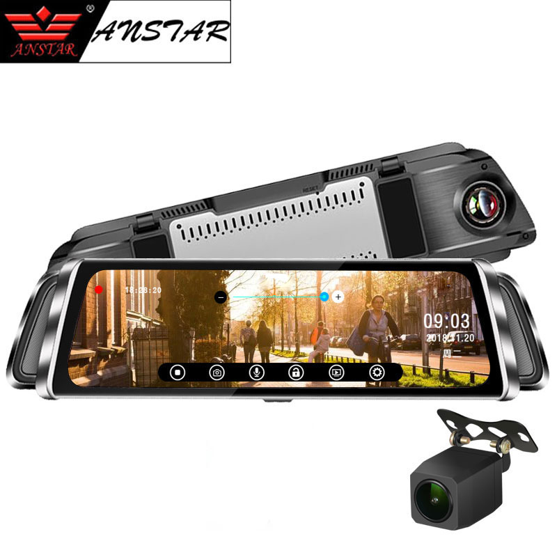 Anstar 10'' Touch Screen Smart Rearview Mirror Car DVR 1080P Registrar Dual Lens Dash Cam Video Recorder Auto Camera