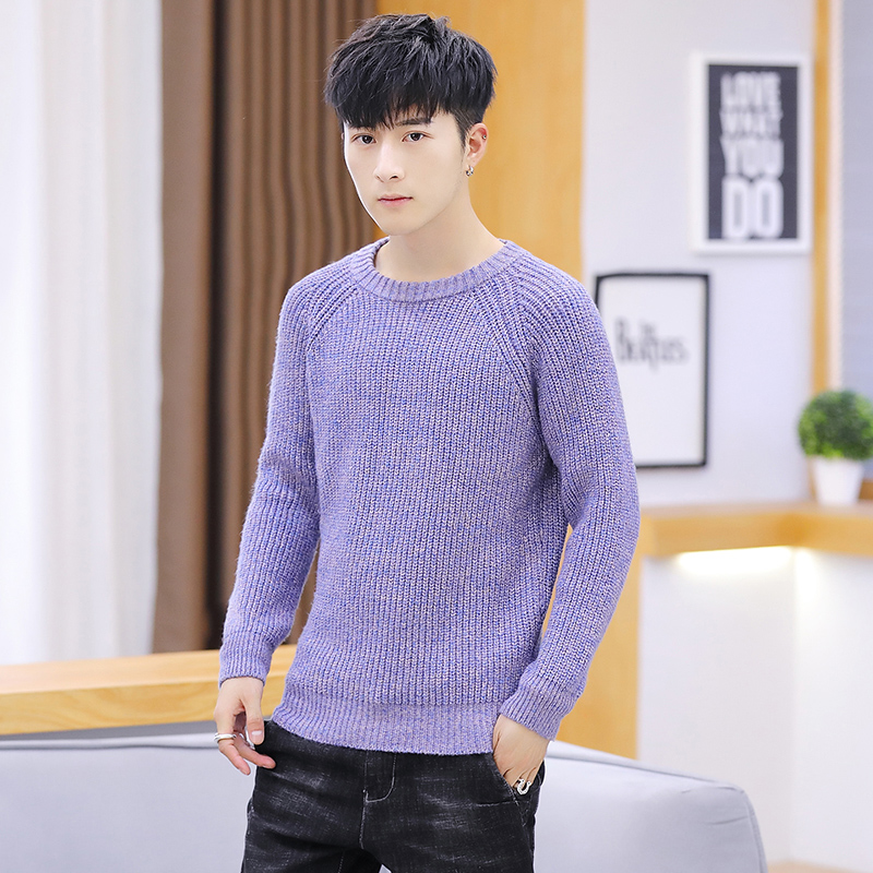 Purple Sweaters Mens Winter Slim Fit Warm Coarse Wool Pullovers Long Sleeve Solid Color Knitted Men Top Jumpers M-3XL Casual