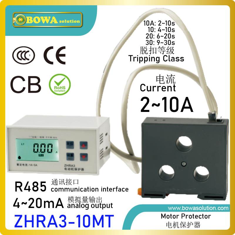 ZHRA3 10MT motor protector with RS485 interface & 4 20mA transmitter make condensers match refrigerant compressors' load changes|motor avr|motor sewing|motor transfer - title=