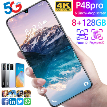 P48pro 6.5inch Smartphone 8GB RAM 128GB ROM Snapdragon 855 Android Cellphone Dual SIM Mobile Phone Cell Smart Phones Free Shippi
