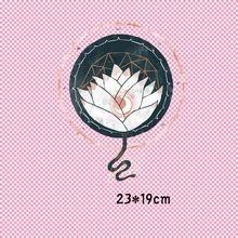 23x19cm cobra flor de lótus ferro em remendos impressos para diy roupas de transferência térmica camiseta transferência térmica adesivos decoração