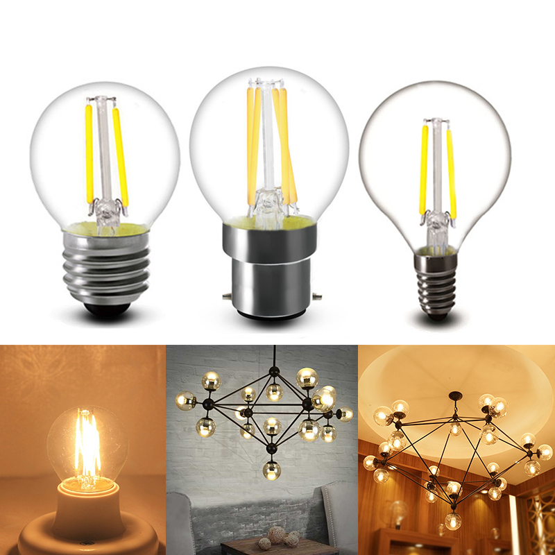 Frosted E14/E27/B22 LED Light Bulb 2W 4W 6W Dimmable G45 COB Vintage Filament Lamp Edison Glass Ball Bulb Home Decor