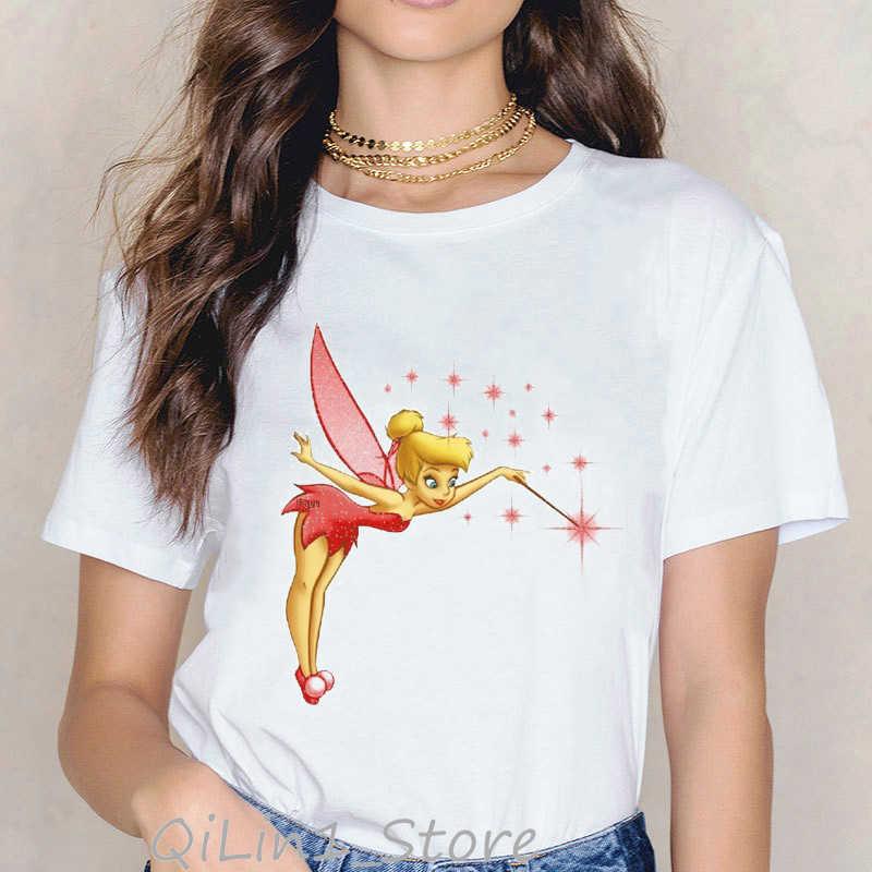 Harajuku Kawaii Fly Princess T Shirt Femme Cute Tinker Bell print Graphic Tees women Tops Aesthetic clothes tumblr Streetwear