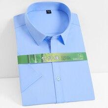 Dress Shirt Short-Sleeve Stretch Bamboo-Fiber Plaid Office Striped Men's Casual Standard-Fit-Work