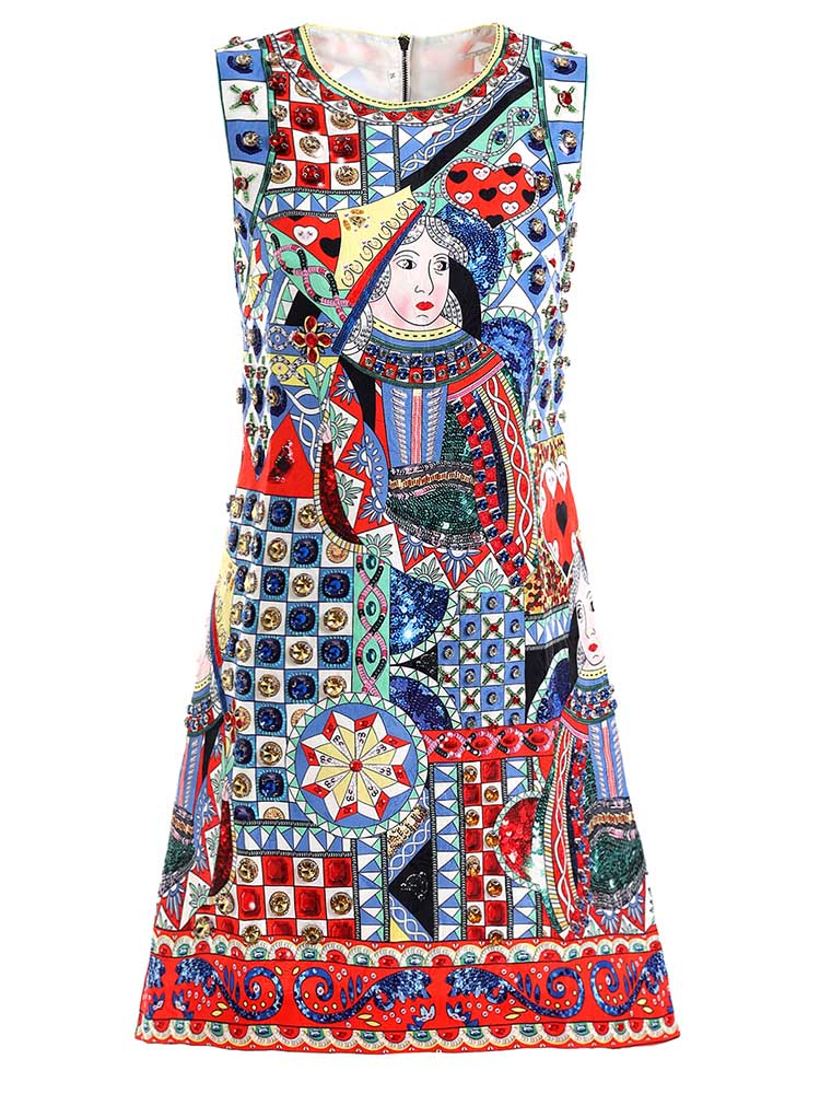 Baogarret 2019 Fashion Spring Summer Dress Womens Beading Character Printed Elegant Vintage Ladies Vacation Mini Dresses