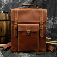 MAHEU Vintage Style Genuine Leather Backpack Crazy Horse Leather Travel Backpack With Revmoable Shoulder Strap Men School Bag