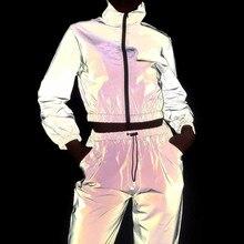 Женский спортивный костюм, комплект из 2 предметов, хип-хоп, светоотражающий укороченный топ, штаны, модная женская Свободная куртка на молнии, пальто, подходящие комплекты размера плюс