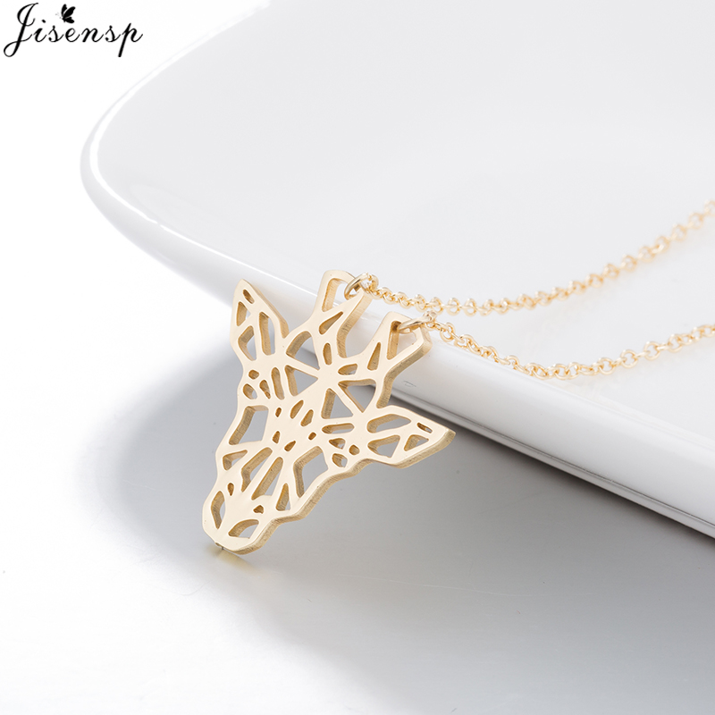 Jisensp Vintage Hollow Animal Stainless Steel Pendant Necklace For Women Bohemian Style Lovely Giraffe Choker Necklace