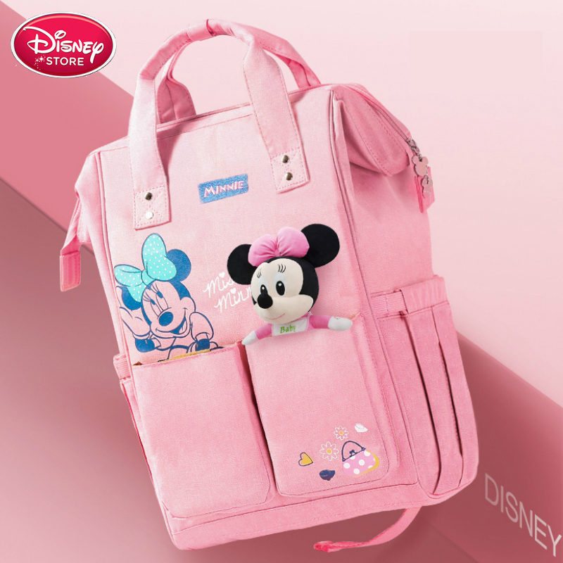 Disney Mummy Bag Minnie Mickey Mouse Bag Thermal Insulation Bag Capacity Double Shoulder Travel Backpack Handbag Baby Care