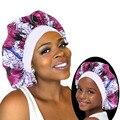 2 teile/satz Satin Bonnet Schlaf Kappe Mama und Mich Mädchen der Afrikanische Druck Kind Turban Haar Abdeckung Baby Hut Haar zubehör