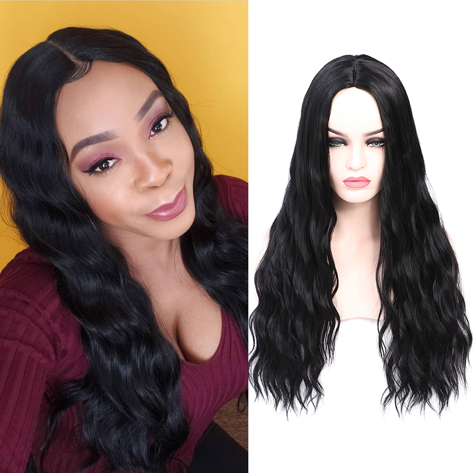 FREEWOMAN Black Synthetic Wigs For Black Women Water Wave Wig American Style Curly Wig Cosplay Synthetic Hair Heat Resistant