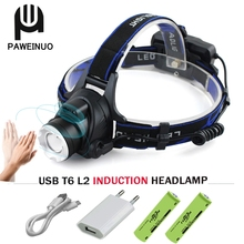 Induction Led Headlight Usb Headlamp Zoom Xm L2 T6 Led Flashlight Forehead Waterproof Flash Light Headtorch Torch 18650 Battery yunmai led headlamp 5000 lumen headlight 2 new xml t6 headlamp headtorch zoom frontal head torch flashlight 18650 battery