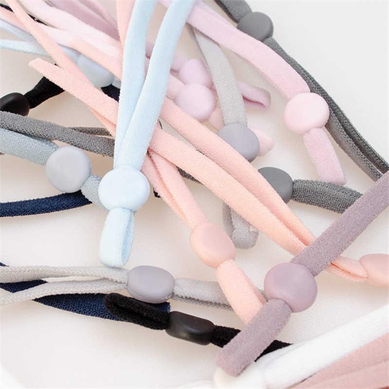 Cordón de banda elástica de costura con Máscara ajustable con hebilla máscara elástica Cordón de oreja cuerda de orejera DIY haciendo suministros 5/20/50 Uds