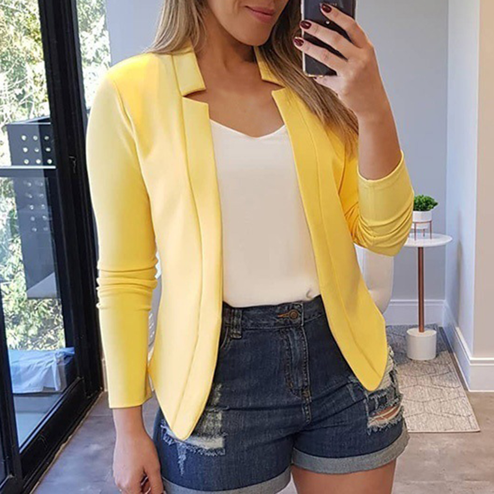 2020 Autumn New Solid Cardigan Blazers Women Fashion No-Breasted Casual Suits Female Elasticity Soft Women Blazers2