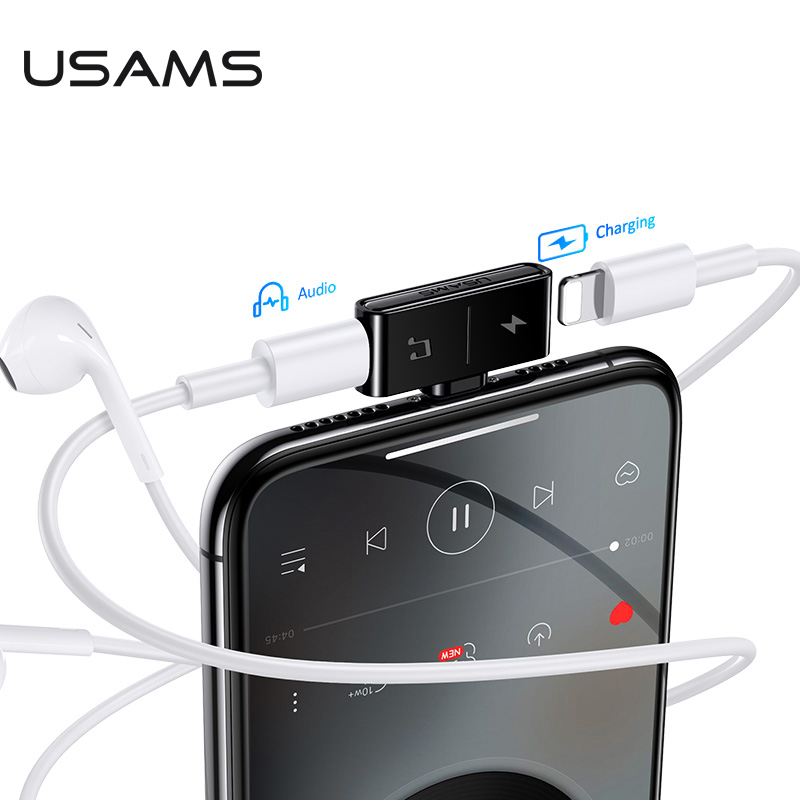 USAMS Lighting To 3.5mm Audio Adapter Earphone Jack To 3.5 Dual Lighting Charging Adapter USB Cable For IPhone X 11 OTG Adapter