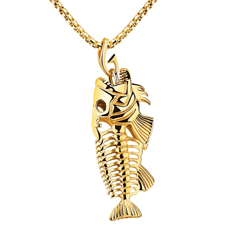 Moda peixe ossos gancho de pesca design pingente colar para mulher/masculino acessórios jóias presente