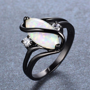 Fire Opal Stone Rings for Women Wedding Rings Black Silver Color CZ moonstone Ring Luxury Jewelry Bague Femme Girl Anillos(China)