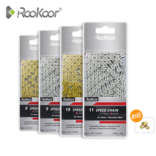 Rookoor Bicycle Chain 6 7 8 9 10 11 Speed Velocidade Titanium Plated TI Gold Silver Mountain Road Bike MTB Chains Part 116 Links