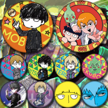 Badge Mob Psycho Brooch Button-Pin Kageyama Cosplay Anime 58mm Collect for Bag Gifts