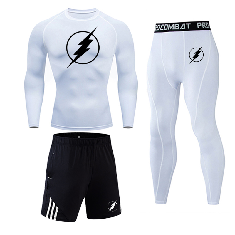 Super hero flash Quick-drying compression men's sports suit men's gym jogging running suit men's tight fitness workout clothes