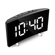 Reloj Despertador Digital Reloj con espejo y luz LED multifunción posponer y visualización de hora noche LCD de mesa de luz de escritorio Reloj Despertador de Cable USB