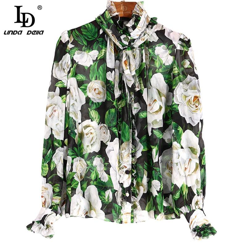 LD LINDA DELLA New 2021 Fashion Designer Autumn Silk Shirts Women's Bow Collar Floral Print Elegant Tops Long Sleeve Blouses