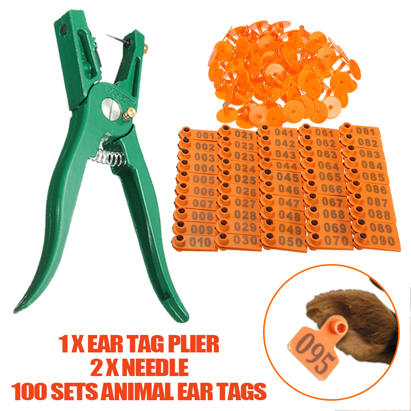 1-100pcs Number Ear Tags Livestock Goat Cow Cattle Sheep Animal ID Lable Ear Tags With Marking Plier