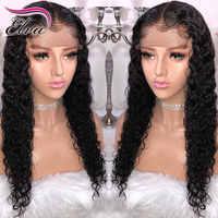 Elva pelo 13x6 De encaje rizado frente pelucas de cabello humano Pre arrancó cabello Remy brasileño Peluca de encaje de pelo con el pelo del bebé Natural Color