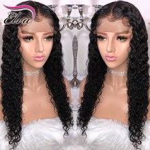 Elva Hair Peluca de cabello humano rizado con encaje frontal, peluquín brasileño Remy prearrancado, Color Natural, 13x6