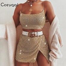 COSYGAL Conjunto de 2 piezas de trajes de Club con lentejuelas brillantes y tirantes finos, camisas con perlas y conjuntos de falda fiesta nocturna