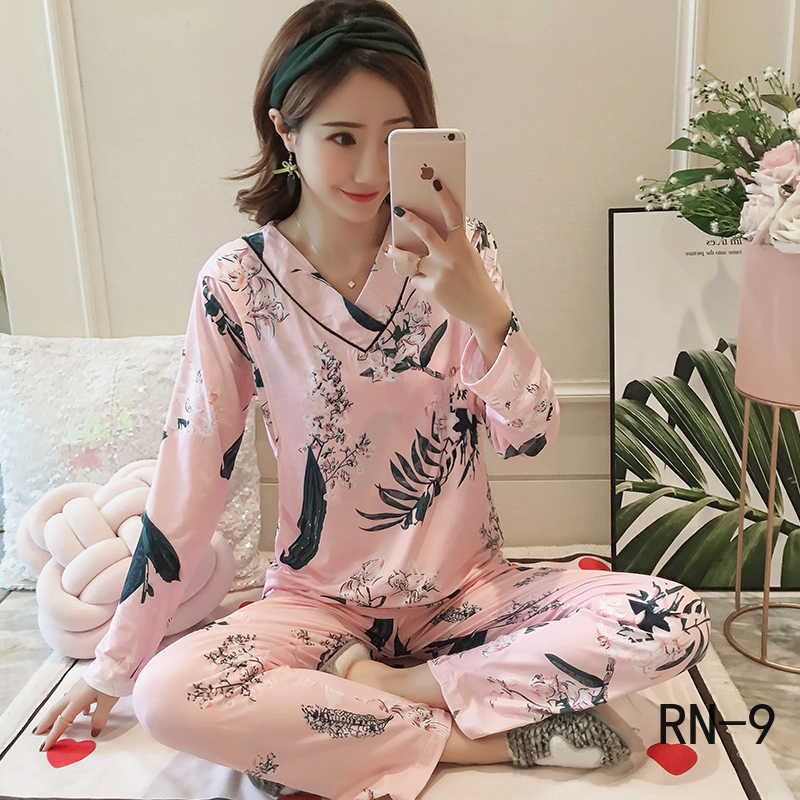 Women Homewear Korean Pregnant Clothing Autumn V Neck Long Sleeve Nightgown Winter Nursing Sleepwear Flower Maternity Pajama Set
