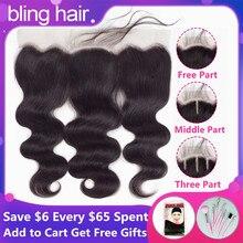Шикарные волосы, волнистые волосы, фронтальные человеческие волосы, закрытые с волосами младенца, 13*4, средний/свободный/три части, бразильские волосы remy, натуральный цвет