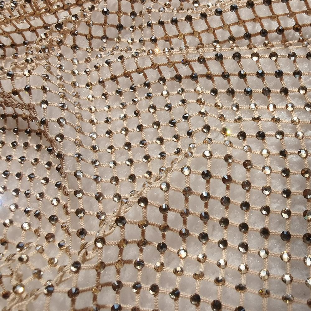 High Quality Beige Cream Nude Spandex Mesh Net Fabric Stretch Lattice Hollow Tulle Tissue Plaid Masquerade Diamond Shaped