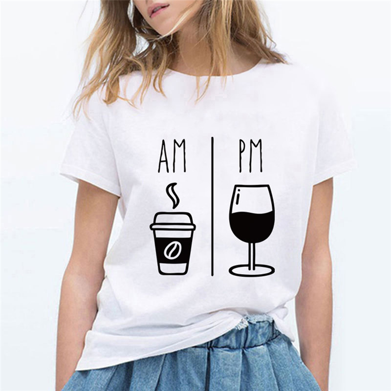 AM coffee PM <font><b>red</b></font> <font><b>wine</b></font> T-<font><b>shirt</b></font> printing T-<font><b>shirt</b></font> Harajuku casual T-<font><b>shirt</b></font> cute Ropa Mujer cool Korean smile T-<font><b>shirt</b></font> image