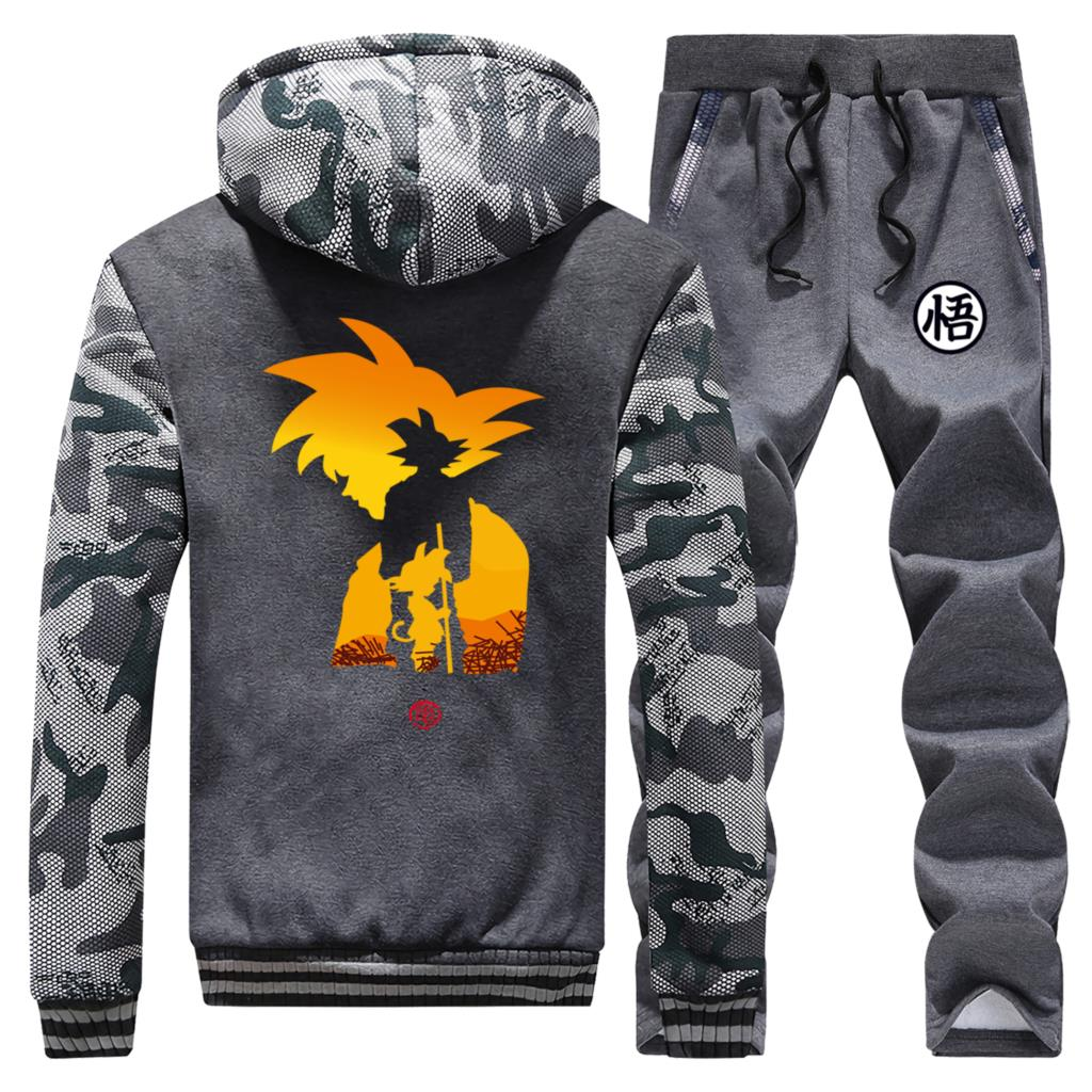 DragonBall Z Sweatshirt Japanese Streetwear Mens Thick Hoodies Anime Dragon Ball Men Jacket+Pant 2 Pcs Sets Man Winter Warm Suit