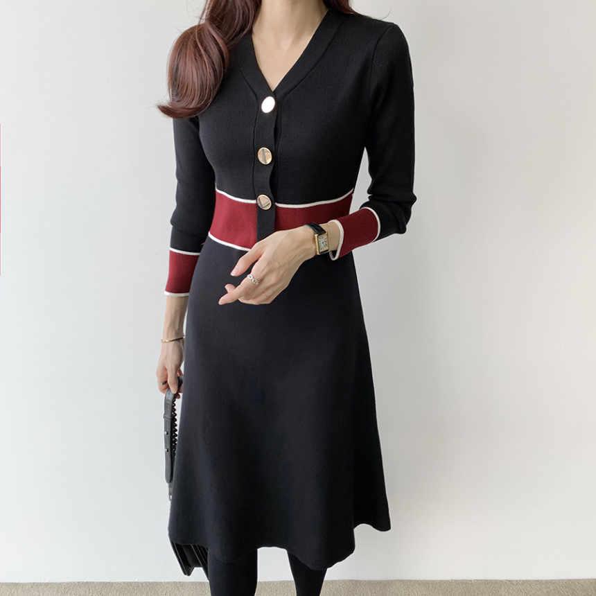Leiouna Manica Lunga Con Scollo A V Una Linea Vintage Black Office Lady di Lavoro A Maglia Nero del Vestito di Autunno Peplo Del Partito Del Vestito Abito Corto Donne