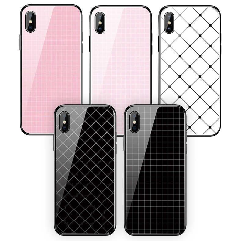 สำหรับ iPhone 6 6s 7 8 8Plus X XR Xs Max 5 5S SE 11 11pro 11proMax กระจกนิรภัยโทรศัพท์กรณีง่ายสีดำสีขาว lattice เรขาคณิต
