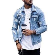 Laamei 2020 осень и зима новинка мужчины% 27 куртка мода повседневная джинсовая ткань куртка отворот рваные джинсы куртка мужские большие размер синий цвет