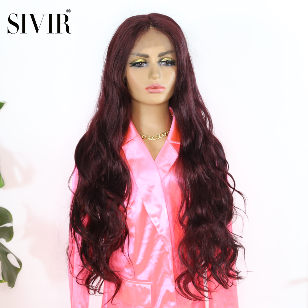 Sivir 26inch Synthetic Natural Wave wig Lace Front Wigs Wine red color  Long Size Heat Resistant L Part Lace Wig For Women