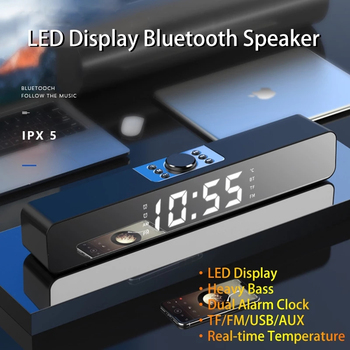 LED Sound Bar Mirror Alarm Clock 3D Sound Subwoofer Radio Stereo USB Wireless Table Clock AUX USB Compatible With PC TV Computer image