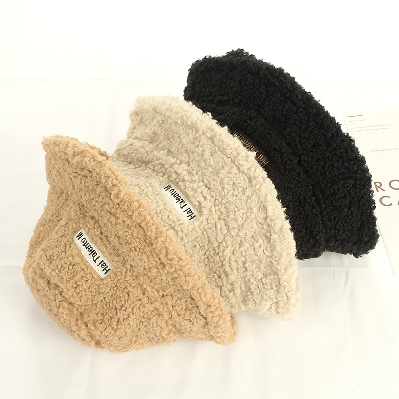 New Autumn Winter Women Lamb Wool Letter Bucket Hat Fur Bob Ladies Girls Warm Faux Fur Fisherman Hat Female Travel Caps Panama